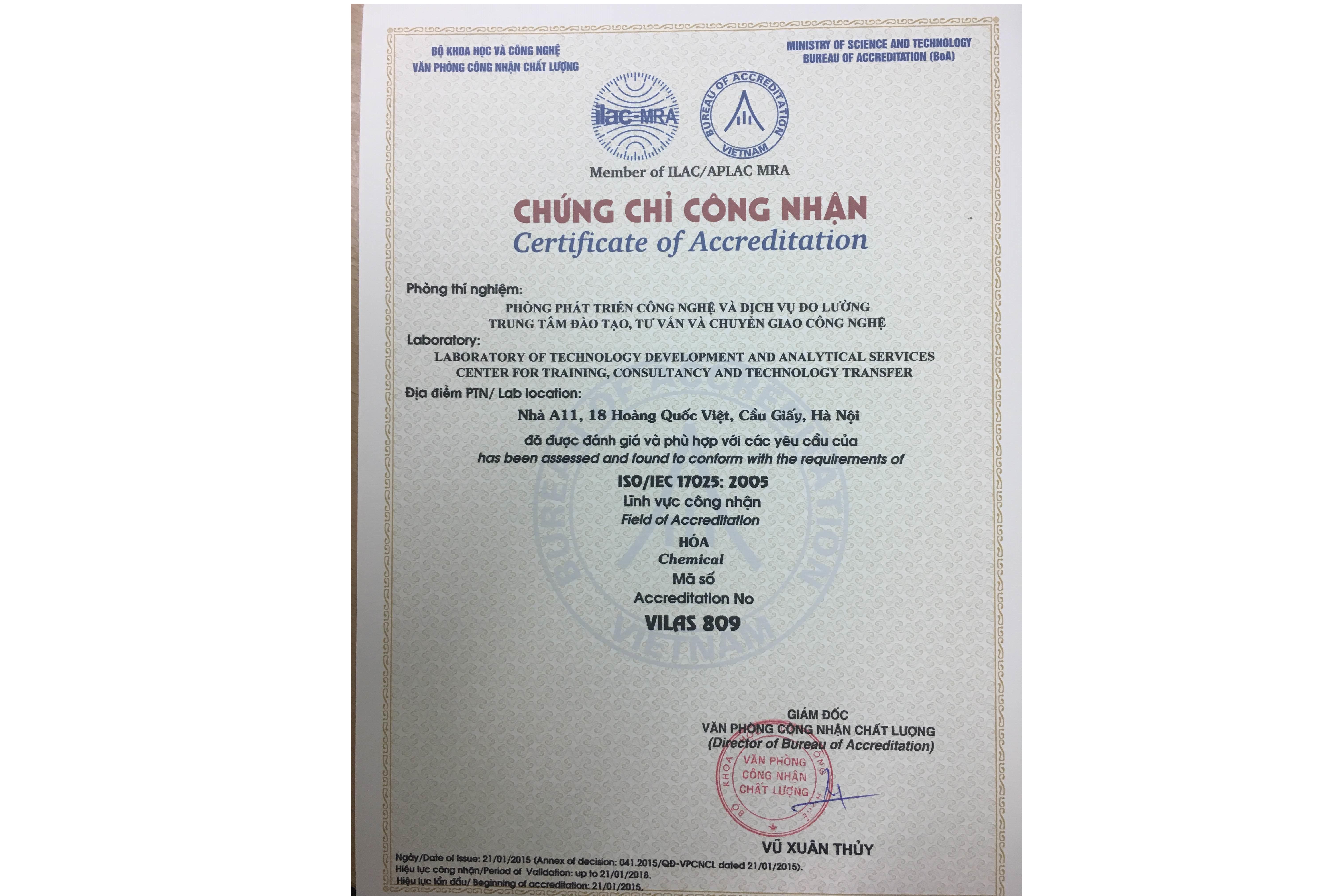 Phòng phát triển công nghệ và dịch vụ đo lường được công nhận phù hợp theo ISO/IEC 17025:2005, mã hiệu VILAS 809
